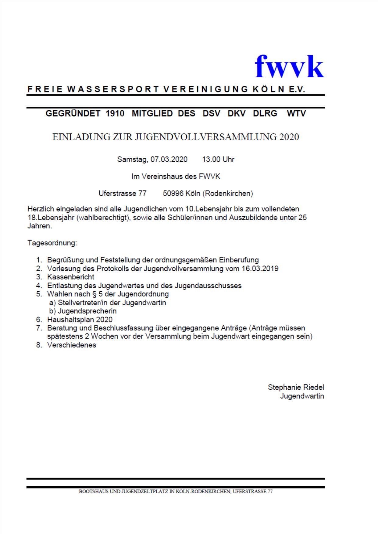 Einladung zur Jugendvollversammlung 2020
